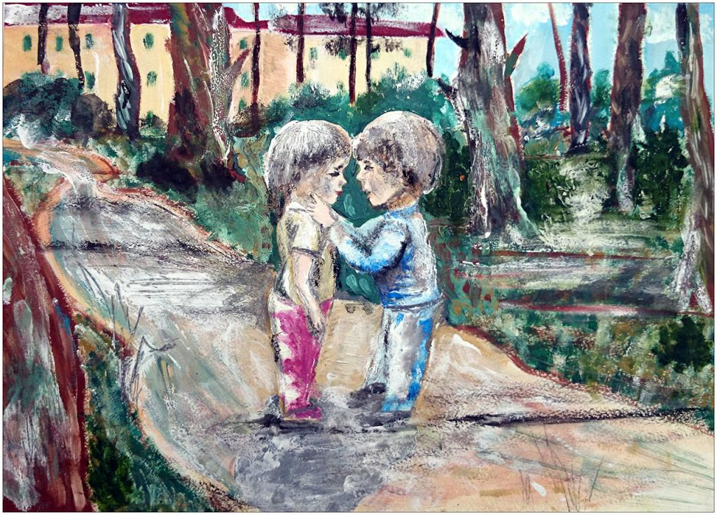 I er prix (25 votes) – Anna GROMOVA, 16 ans, atelier artistique ACQUA, Slavutich, Ukraine. «Les amis d'enfance sont des repères de vie, ils nous rappellent d'où l'on vient pour mieux savoir où l'on doit aller dans la vie».  Commentaire de l'artiste:  Il faut savoir apprécier les amis dès l'enfance à la vieillesse. Il faut savoir les garder dans le cœur.