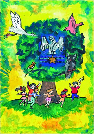 3 prix  dans la catégorie « 14-17 ans ». «Main dans la main vous n'aurez peur de rien». Gurina Ilona 16 ans Atelier Artistique ACQUA, Slavutich, Ukraine. Commentaire de l'artiste: Sur l'arbre autour duquel les enfants jouent il y a un Ange Blanc.