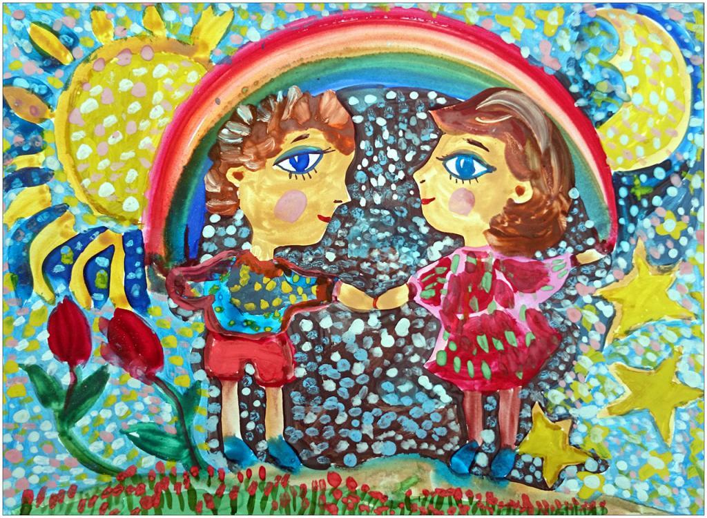 Olia GURIEVA, 6 ans, atelier artistique ACQUA, Slavutich, Ukraine. «Pourquoi le bonheur et les arcs-en-ciel ne sont-ils pas faits pour durer»