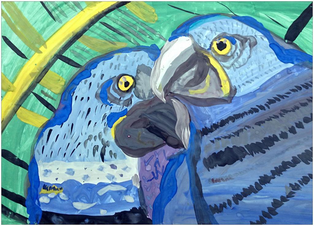 I er prix (24 votes) – Alexey SAKHNO, 8 ans, atelier artistique ACQUA, Slavutich, Ukraine. «L'amitié est toujours une douce responsabilité, jamais une opportunité». Commentaire de l'artiste:  Les perroquets sont amis avec les humains. Si l'on leur parle, ils répondent en langue humaine.