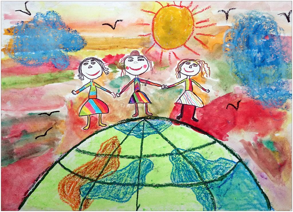 «Dans le pays de l'amitié, l'on ne connaît pas la distance d'un lieu à un autre; rien n'est près, rien n'est loin: l'ami, quoique absent, est toujours présent à l'ami par l'imagination»/aquarelle, pastel, feutres.  Coline CHIROLET, 7 ans, Ecole française de Slavutich, Ukraine