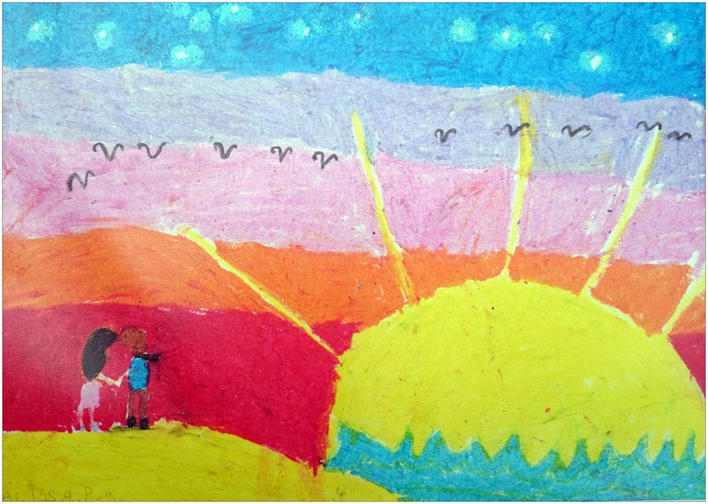 Tous les jours un nouveau coucher de soleil se lève. Ce jour là un nouveau couple de Ben et Marie se réveillent devant un magnifique coucher de soleil où naissent l'Amour et l'Amitié.  Alissa PERS, 9 ans, atelier d'Anastasia Om, Paris, France