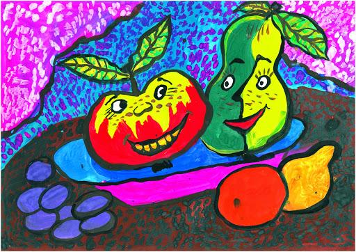 3 prix dans la catégorie « 5-9 ans ». «Dès que la nappe quitte la table, l'amitié part avec». Zhorov Vlad  8 ans. Atelier Artistique ACQUA, Slavutich, Ukraine. Commentaires de l'artiste: Il y a des amis qui sont avec vous pour un profit.