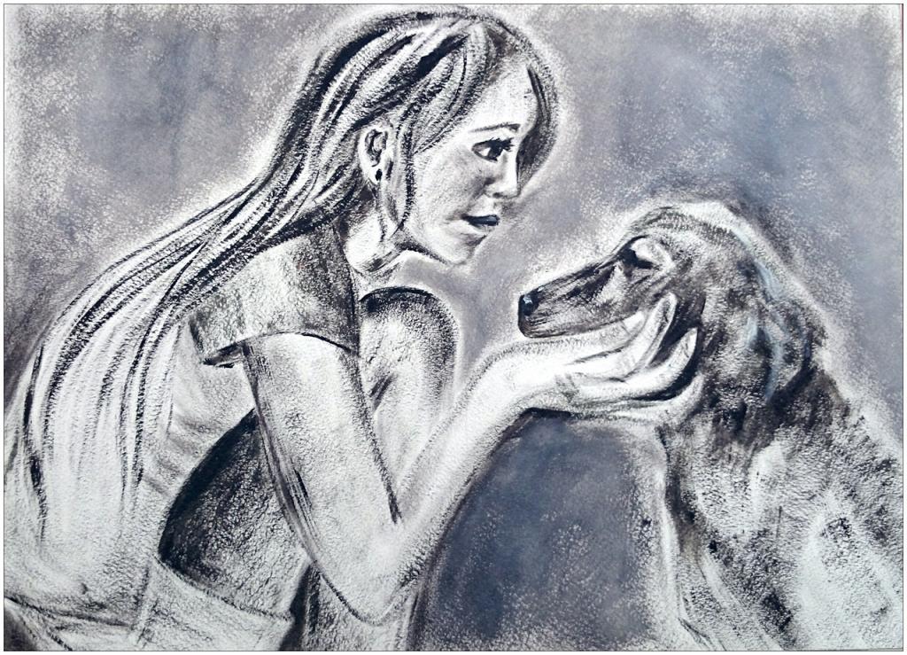 II ème prix (24 votes) – Katya SHVETS, 15 ans, atelier artistique ACQUA, Slavutich, Ukraine. «L'amitié est une âme en deux corps» Aristote.  Commentaire de l'artiste:  C'est très étrange d'avoir un animal domestique. Vous ne parlez pas la même langue, mais vous le prenez  dans vos bras et un lien très fort se crée entre vous. L'embrasser c'est votre manière de lui montrer votre amitié.