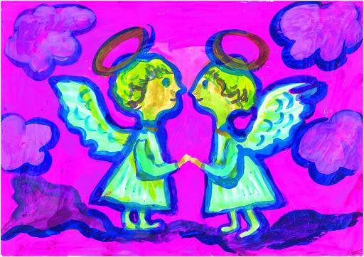 «L'amitié nait de la communauté d'idées». Kaledin Kirill 7 ans, Atelier Artistique ACQUA, Slavutich, Ukraine. Commentaire de l'artiste: J'ai beaucoup d'amis. Pour moi mes amis sont des anges. Ils m'aident toujours, je fais de même.