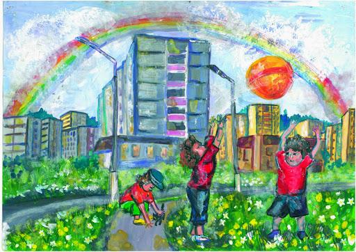 1 prix dans la catégorie « 14-17 ans ». «Entre les amis tout doit être en commun». Kuznetsova Polina 14 ans, Atelier Artistique ACQUA, Slavutich, Ukraine Commentaires de l'artiste: Les amis doivent tout partager: le chagrin et la joie.