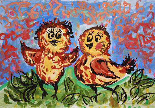 «L'amitié est une grande Force». Beliaeva Elena 5 ans. Atelier Artistique ACQUA, Slavutich, Ukraine. Commentaire de l'artiste: L'amitié est un sentiment très fort, qui aide à vivre.