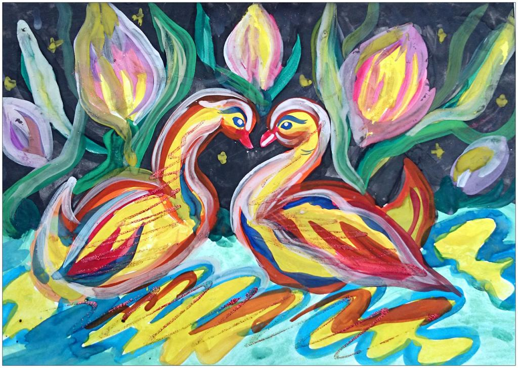 II ème prix (13 votes) – Victoria KRIZHANOVSKAYA, 9 ans, atelier artistique ACQUA, Slavutich, Ukraine. «L'ami(e), c'est un(e) autre moi-même» (Epicure)  Commentaire de l'artiste: Les signes se ressemblent tellement, qu'il est impossible de les différencier. L'âme de ton amie, c'est ton âme.