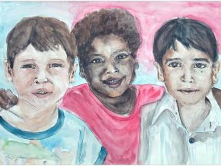 «Celui qui cherche un ami sans défaut reste sans ami»/ aquarelle, encre de Chine  Ekaterina KISHMAN,  14 ans, Atelier artistique «Acqua», Slavutich, Ukraine Commentaire de l'artiste: J'ai dessiné les garçons de trois races différentes. Ils sont tous des personnalités et tous différents, mais ils ont des intérêts communs. Ils croient tous à l'avenir, ils veulent vivre sans guerre. Quand ils seront grands ils ne voudront jamais de conflits militaires.