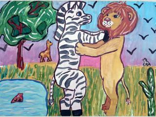 «Le meilleur moyen de se défaire d'un ennemi est d'en faire un ami» (Henry IV)/aquarelle, encre de Chine  Sofia CHERNIAK, 13 ans, atelier artistique ACQUA, Slavutich, Ukraine Commentaire de l'artiste:  Même les ennemis peuvent devenir amis. Dans la nature sauvage un lion considère un zèbre en tant que nourriture, sur mon dessin ils dansent.                           Il était une fois un zèbre a vu un lion. Il a eu peur d'être mangé, mais le lion est passé à côté sans rien faire. «Je suis végétarien» a répondu le lion au regard étonné du zèbre. Depuis  ce jour ils sont devenus amis.
