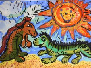 «Si tu as partagé la joie avec ton ami, ne le laisse pas dans le chagrin». Gourieva Olga 6 ans. Atelier Artistique ACQUA, Slavutich, Ukraine. Commentaire de l'auteur: Il ne faut pas laisser ses amis dans le malheur.