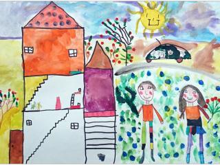 «L'amitié, c'est le sourire partagé, la main tendue et la complicité»/ aquarelle  Lena  VAESKEN, 6 ans, Ecole française de Slavutich, Ukraine