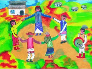 «L'amitié humaine peut être plus imposante que les montagnes».  Dibrova Anastasia 16 ans, Atelier Artistique ACQUA, Slavutich, Ukraine  Commentaire de l'artiste: Haut dans les montagnes de Karpaty il y a un peuple très uni. Ces gens ont réussi à garder leurs traditions jusqu'à nos jours.