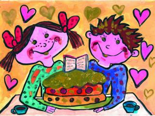 «Les amis partagent tout». Galouza Katya  8 ans, Atelier Artistique ACQUA, Slavutich, Ukraine. Commentaire del'artiste: Avec mon ami nous nous intéressons aux mêmes choses. Nous lisons les mêmes livres et préférons les mêmes sucreries.