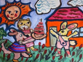 «Pour un cher ami le portail est toujours grand ouvert». Manoylenko Anna 9 ans. Atelier Artistique ACQUA, Slavutich, Ukraine. Commentaire de l'auteur: C'est bien quand les amis viennent à la maison.