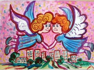 «Il ne faut pas avoir les ailes pour voler. Il suffit d'avoir les amis qui ne te laisseront pas tomber»/ gouache  Kirill KALEDIN,  8 ans, atelier artistique ACQUA, Slavutich, Ukraine