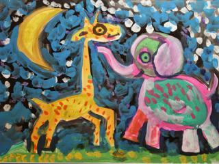 «A plusieurs, rien ne parait lourd». Korotkaya Arina  5 ans. Atelier Artistique ACQUA, Slavutich, Ukraine.