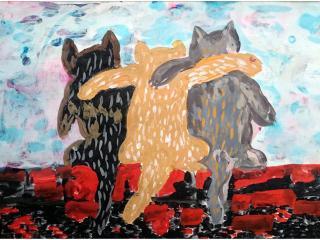 «L'amitié nait de la communauté d'idées»/ gouache  Denis MIRONOV, 8 ans, atelier artistique ACQUA, Slavutich, Ukraine Commentaire de l'artiste: Ces chats admirent le coucher du soleil et leur amitié est plus forte que le mur, sur lequel ils sont assis.