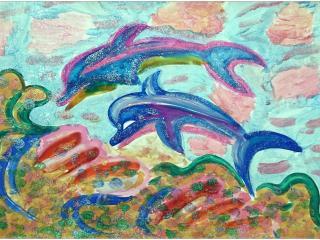 «La vie est dure sans amis»/ gouache  Zlata RYLOVA, 8 ans, atelier artistique ACQUA, Slavutich, Ukraine Commentaire de l'artiste:  Les dauphins sont les meilleurs amis, ensemble ils sauvent les gens. Je m'appelle  Zlata, qui veut dire Or. C'est pour cela que tous mes dessins brillent.