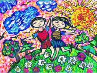 «L'amitié se paye en amitié». Kibenok Dimien 7 ans, Atelier Artistique ACQUA, Slavutich, Ukraine. Commentaire de l'artiste: L'amitié vaut plus cher que l'argent ou les bonbons.