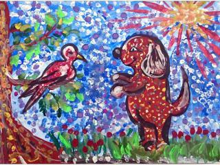 «Plus on apprend à connaitre l'homme, plus on apprend à estimer le chien»/ gouache  Oleg TROTSENKO, 7 ans, Atelier artistique «Acqua», Slavutich, Ukraine Commentaire de l'artiste:  Mon chien ne fait mal à personne, il ne court pas après les chats, ni aboie après les oiseaux. On dit des chiens comme le mien 'Un chien gentil'.