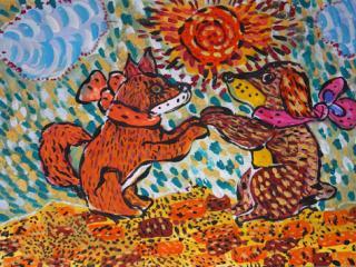 «Un vrai ami est celui qui va te tenir par la  main et sentir ton cœur battre» Gabriel Marquez. Rylova Zlata 7 ans. Atelier Artistique ACQUA, Slavutich, Ukraine. Commentaire de l'artiste: Si mon ami comprend vraiment ce qui se passe dans mon cœur, il m'aime pour de vrai.