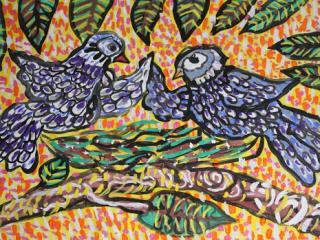«Un homme sans amis est comme un oiseau sans ailes». Tchamoukha Katerina 8 ans. Atelier Artistique ACQUA, Slavutich, Ukraine Commentaire de l'artiste: Il est difficile de vivre sans amis.