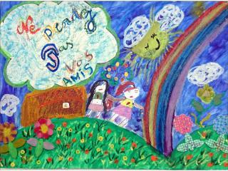 «L'amitié est un trésor dont il ne faut pas perdre la clé»/gouache, pastel, collage.  Hakima EL-MASSOUDI, 14 ans, Ecole française de Slavutich, Ukraine