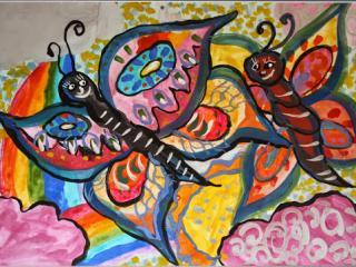 «Les faux amis sont comme des ombres, ils te suivent dans la lumière et te laissent de côté dès  qu'apparaît la noirceur». Bivalnevich Sofia 8 ans. Atelier Artistique ACQUA, Slavutich, Ukraine. Commentaire de l'artiste: Il faut aimer son ami, l'aider et ne jamais se disputer.