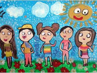 «On ne peut pas avoir trop d'amis»/ gouache Lena BELIAEVA, 6 ans, atelier artistique ACQUA, Slavutich, Ukraine  Commentaire de l'artiste:  J'ai beaucoup d'amis: à l'école, dans la cour, à Acqua, dans la piscine. Mais je voudrais bien en avoir encore plus, en France également.