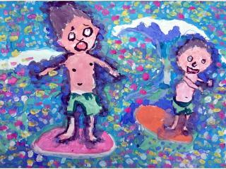 «L'amitié nait de la communauté d'idées»/ gouache  Mikhail KOZENKO,  8 ans, atelier artistique ACQUA, Slavutich, Ukraine Commentaire de l'artiste: Les garçons aiment faire du surf, ils sont devenus amis.