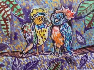 «L'Amitié est l'Amour sans ailes» George Gordon, Lord Byron. Atomanenko Darina 7 ans. Atelier Artistique ACQUA, Slavutich, Ukraine. Commentaire de l'artiste: Si tu aimes quelqu'un, tu n'as pas besoin d'ailes.