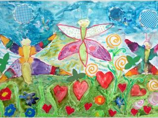«L'amitié c'est beau comme un vol de papillons»/aquarelle, pastel, collage.  Cyrielle CHIROLLET, 5 ans, Ecole française de Slavutich