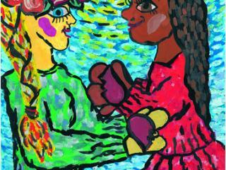 «L'amitié se paye en amitié». Zakharchuk Natalia 12 ans, Atelier Artistique ACQUA, Slavutich, Ukraine. Commentaire de l'artiste: Si tu sais être ami, les gens voudront être tes amis.