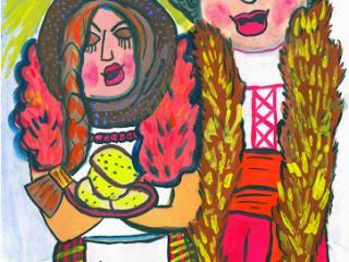 «L'amitié et la fraternité valent plus que toute la richesse». Tarassevich Yulia 9 ans, Atelier Artistique ACQUA, Slavutich, Ukraine. Commentaire de l'artiste: En Ukraine à la fin de l'hiver nous disons adieu à l'hiver et accueillons le printemps avec les crêpes que nous partageons avec les amis. Une crêpe ressemble au soleil, elle est ronde, dorée et très bonne.