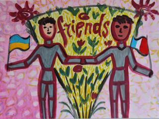 «Si l'on n'a pas d'amis il faut en chercher. Une fois trouvé il faut savoir le garder». Gladnev Danil  12 ans.  Atelier Artistique ACQUA, Slavutich, Ukraine. Commentaire de l'artiste: Il est difficile de trouver un vrai ami, mais il est très facile de le perdre.  Il faut donc faire le nécessaire pour le garder.