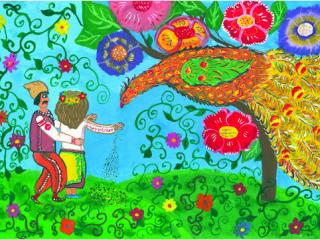 1 prix  dans la catégorie « 14-17 ans ». «L'amitié et la fraternité des peuples valent plus que toute. la richesse»  Dibrova Anastasia 16 ans, Atelier Artistique ACQUA, Slavutich, Ukraine Commentaire de l'artiste: On ne cherche ni or, ni diamants. Le vrai bonheur est quand il n'y a pas de guerre entre les pays.