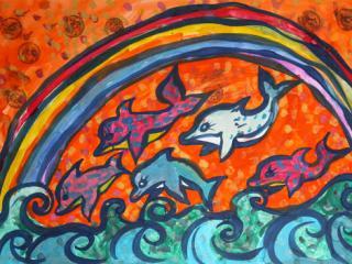 «N'aie pas cent roubles, aies cent amis». Nebabina Karina  5 ans.  Atelier Artistique ACQUA, Slavutich, Ukraine. Commentaire de l'artiste: On ne peut pas acheter l'amitié même avec un trésor.