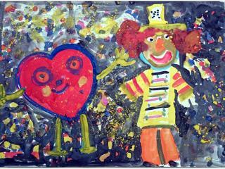«On juge l'homme à ses amis» Baltasar Gracian/gouache.  Elisaveta SHAGUINIAN, 6 ans, atelier artistique ACQUA, Slavutich, Ukraine Commentaire de l'artiste:  Sur mon dessin un clown et un cœur sont amis. C'est pour cela que le clown est tellement gentil et le cœur est tellement joyeux.