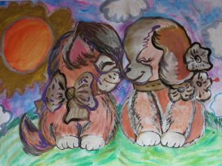 2 prix «Il n'y a pas d'amitié sans débat».  Tcherniak Sofia 12 ans. Atelier Artistique ACQUA, Slavutich, Ukraine. Commentaires de l'artiste: Les amis ont souvent des débats. Puisque c'est dans le débat que nait la vérité.