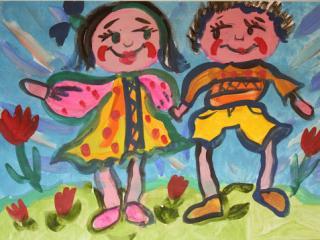 «Main dans la main vous n'aurez peur de rien». Sidorova Ivanna  8 ans. Atelier Artistique ACQUA, Slavutich, Ukraine. Commentaire de l'artiste: Si je commence mon voyage avec les amis, la route sera plus joyeuse.  Tout seul je ne suis pas grand-chose, avec mes amis nous sommes Grands.