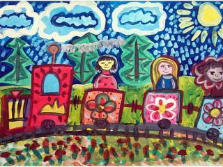 «La distance qui mène à l'amitié n'est jamais trop grande»/ gouache  Sasha Bouksha, 9 ans, atelier artistique ACQUA, Slavutich, Ukraine Commentaire de l'artiste:  J'ai dessiné le train de l'amitié. A son bord il y a trois filles de différentes  couleurs des pays différents.