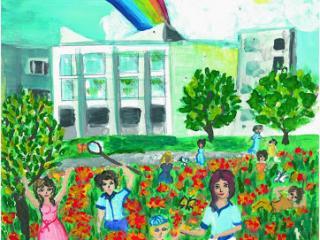 «Les amis de nos amis sont nos amis». Terentyeva Anastasia 12 ans, Atelier Artistique ACQUA, Slavutich, Ukraine. Commentaire de l'artiste: J'ai beaucoup d'amis, puisque je suis amie avec les garçons et les filles des autres écoles, avec les amis de mes amis. Je suis heureuse.