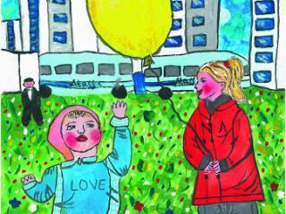 «Il vaut mieux avoir un vieil ami que deux nouveaux». Berliak Anastasia 15 ans, Atelier Artistique ACQUA, Slavutich, Ukraine. Commentaire de l'artiste: Je pense que je devrais beaucoup apprécier mon amie. Elle a 3 ans plus que moi. J'ai fait le dessin de nous deux  quand nous étions petites.
