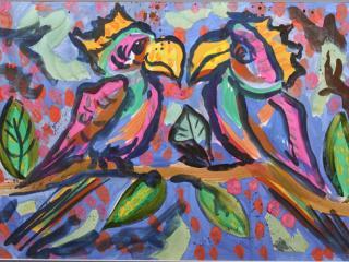 «Sois fier de tes amis mais sois digne de tes amis». Lukianenko Anastasia 6 ans. Atelier Artistique ACQUA, Slavutich, Ukraine. Commentaire de l'auteur: Si tu as un bon ami, tu dois être bon aussi.