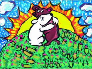 «L'ami qui partage le malheur avec toi compte pour deux». Kibenok Dimien 7 ans, Atelier Artistique ACQUA, Slavutich, Ukraine. Commentaire de l'artiste: Si ton ami ne te laisse pas seul dans le malheur, il est un vrai ami.