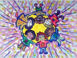 «Vois en chacun de tes amis un rayon de soleil, et chacune de leurs paroles te réchauffera le cœur»/ gouache  Maria ASTAPENKO, 8 ans, atelier artistique ACQUA, Slavutich, Ukraine Commentaire de l'artiste:  J'ai dessiné le soleil de l'amitié. Ses rayons sont des enfants des pays différents. Ce soleil offre de la lumière, de l'amitié, de l'amour et de la fidélité.