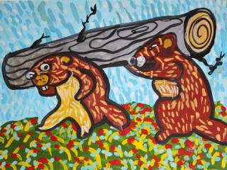1 prix dans la catégorie « 5-9 ans ». «L'amitié aime l'action». Benoit Ivan 5 ans. Atelier Artistique ACQUA, Slavutich, Ukraine. Commentaire de l'artiste: Il est plus facile de travailler avec les amis.