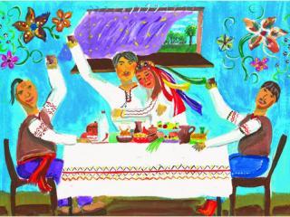 «Qui ne garde pas d'«offrandes» à la maison n'a pas d'amis dans la rue». Zhuravskaya Oksana 15 ans, Atelier Artistique ACQUA, Slavutich, Ukraine. Commentaires de l'artiste: Ma famille est très accueillante. J'aime bien quand mes amis viennent à la maison. J'essaie de cuisiner de bons plats et de bien nourrir tout le monde.