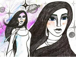 «Il est impossible de trouver un ami meilleur que sa mère». Kichman Ksenia 12 ans, Atelier Artistique ACQUA, Slavutich, Ukraine. Commentaire de l'artiste: On est comme des sœurs avec ma mère. Elle est ma plus fidèle amie.  Elle est mon univers, je suis son étoile.